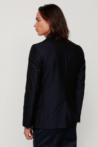 Textured Blazer with Long Sleeves and Flap Pockets