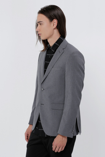 Notch Collar Blazer with Long Sleeves and Button Placket