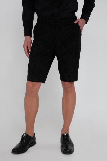 Textured Shorts with Button Closure