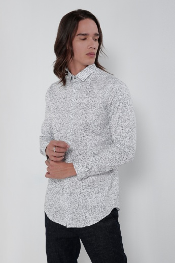 Printed Shirt with Long Sleeves and Concealed Placket