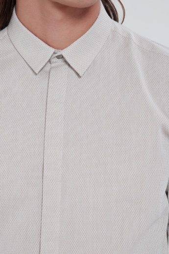Shirt with Long Sleeves and Concealed Placket