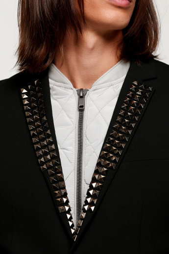 Embellished Notch Collar Jacket with Long Sleeves