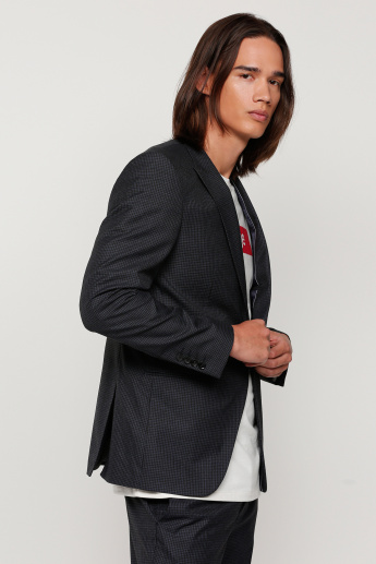 Chequered Notch Collar Jacket with Long Sleeves
