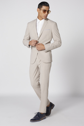 Notched Collar Suit Jacket with Long Sleeves