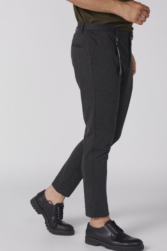 Full Length Mid-Rise Trousers with Button Closure and Pocket Detail
