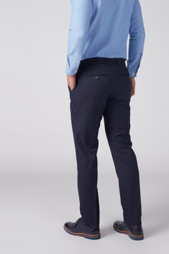 Textured Trousers with Pocket Detail and Button Closure