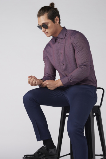 Textured Long Sleeves Shirt with Spread Collar and Complete Placket