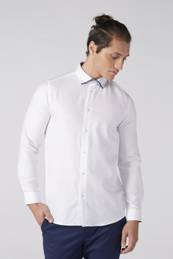 Long Sleeves Shirt with Double Collar Detail and Complete Placket