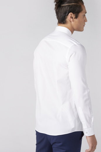Long Sleeves Shirt with Spread Collar and Pleated Bib Detail