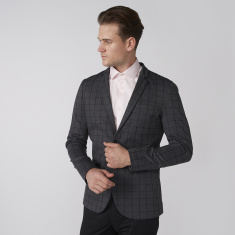 Chequered Blazer with Long Sleeves and Pocket Detail
