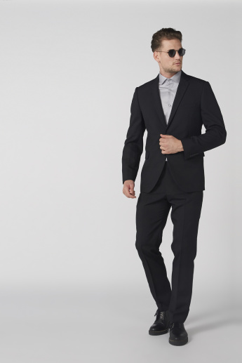 Notch Collar Jacket with Long Sleeves and Button Closure
