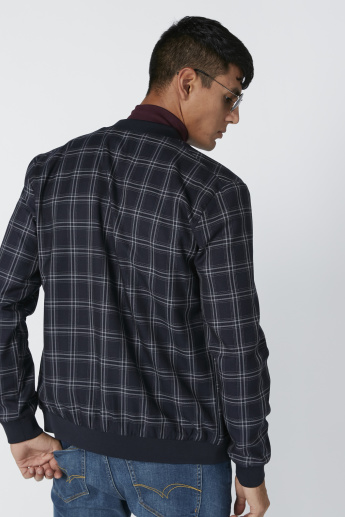 Chequered Bomber Jacket with Long Sleeves