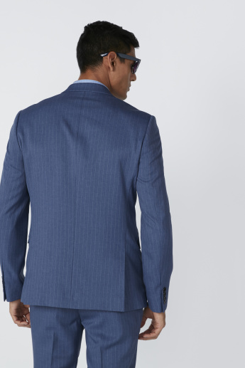 Striped Notched Lapel Jacket in Slim Fit with Pocket Detail