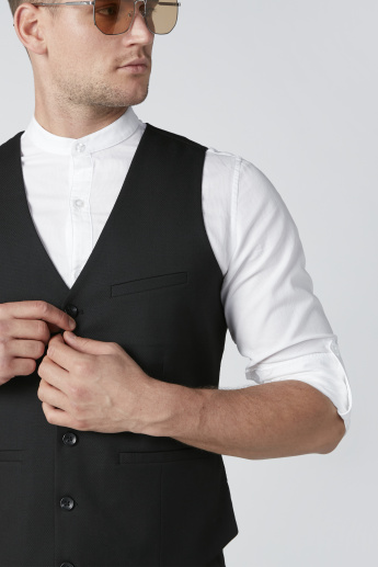 Textured Waistcoat with Pocket Detail and Button Closure
