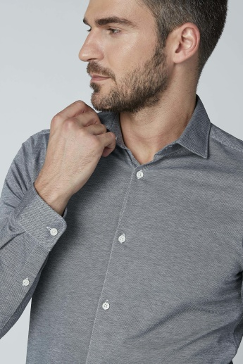 Plain Shirt with Long Sleeves and Complete Placket