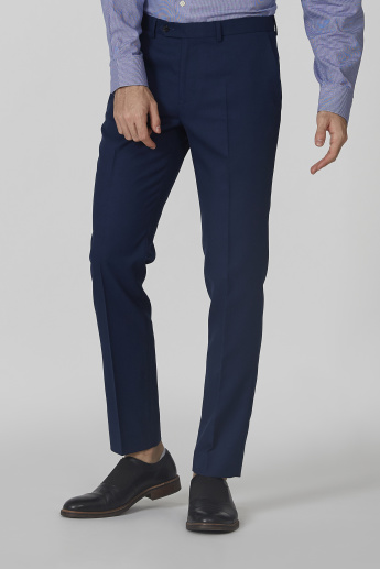 Full Length Textured Mid Waist Trousers with Pocket Detail