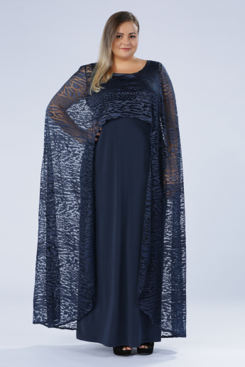 34145fe16be16 Plus Size Printed Maxi Dress with Cape