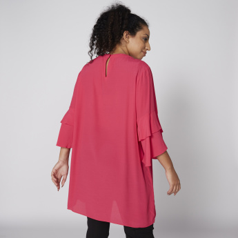 Round Neck Tunic with Layered Sleeves and Keyhole Closure