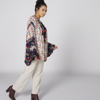 Floral Printed Top with Round Neck and Long Sleeves