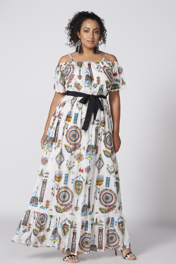 ff6d0c4600ae Printed Off Shoulder Maxi Dress with Spaghetti Straps