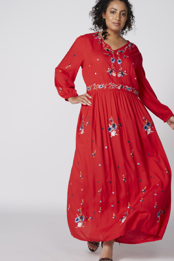 Embroidered V-Neck Maxi Dress with Long Sleeves