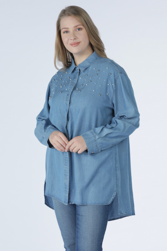 24b825e4 Embellished Denim Shirt with Long Sleeves and Complete Placket | Blue
