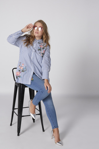 Striped Tunic with Long Sleeves and Embroidery