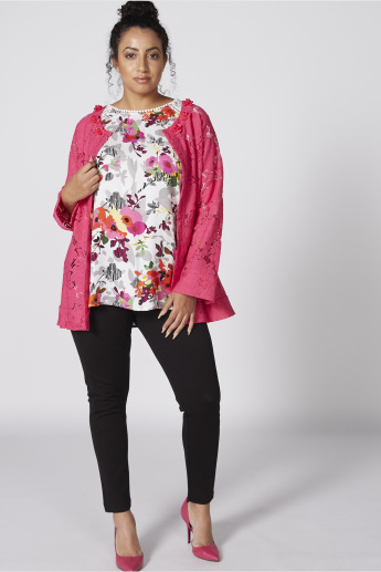 Printed Round Neck Top with Raglan Sleeves and Lace Detail