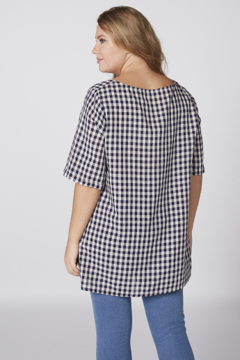 Chequered Longline Top with Boat Neck