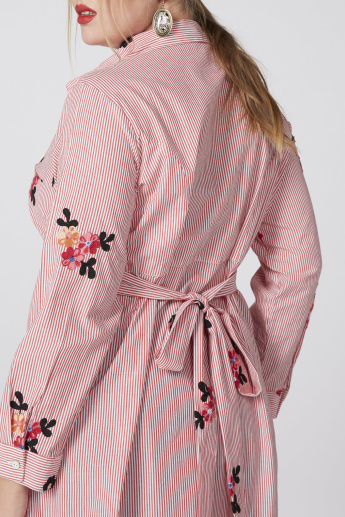 Embroidered Shirt Tunic with Long Sleeves and Tie Up Belt