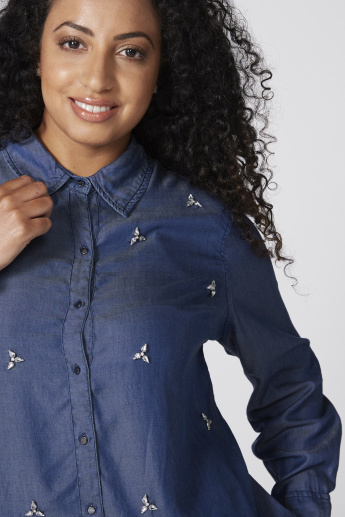 Embellished Denim Shirt with Long Sleeves and Complete Placket