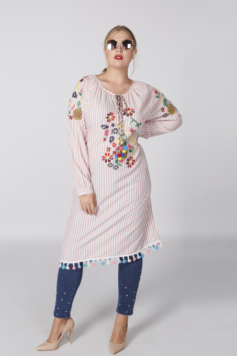 Striped Tunic with Embroidery and Tassels