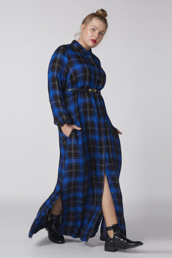 6ea8642ca30 Chequered Maxi Dress with Long Sleeves and Pocket Detail