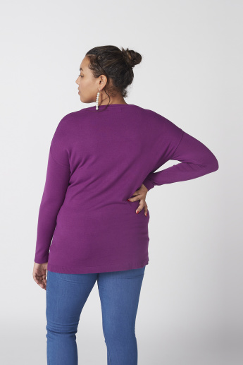 Textured T-Shirt with Round Neck