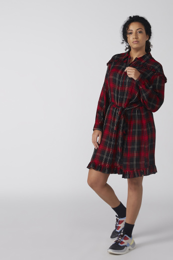 Chequered Midi Shirt Dress with Long Sleeves and Tie Ups