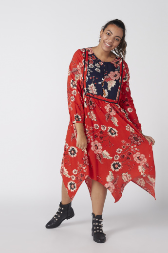 Printed Dress with Round Neck and Asymmetric Hem