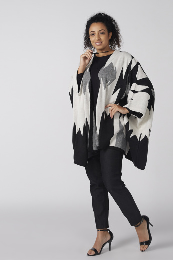 Printed Poncho with Long Sleeves
