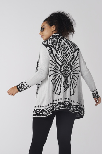 Printed Open Front Longline Shrug with Long Sleeves
