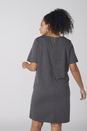 Melange Midi Dress with Round Neck and Short Sleeves