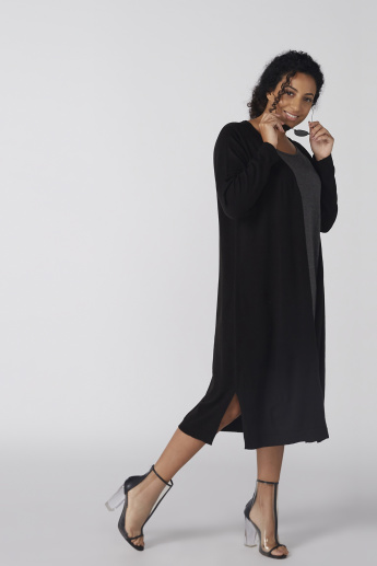 Long Sleeves Cardigan with Side Slit