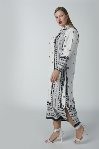 Printed Maxi Shift Dress with Long Sleeves and Side Slit