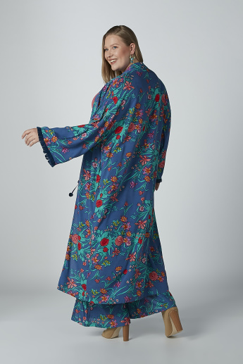 Floral Printed Longline Shrug with Flared Sleeves