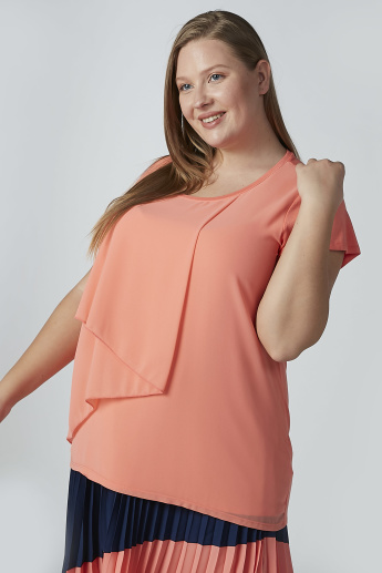 Solid Layered Top with Short Sleeves