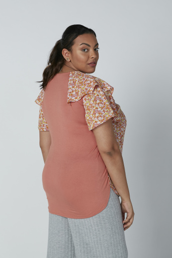 Floral Printed Top with Frill Detail Layered Sleeves and Side Slit