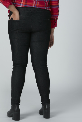 Solid Jeggings with Pocket Detail and Elasticised Waistband