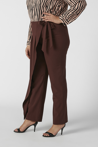 Wide Fit Full Length Flexi Waist Pants with Tie Ups
