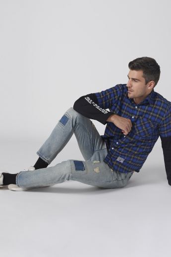 Chequered Shirt with Printed Long Sleeves and Complete Placket