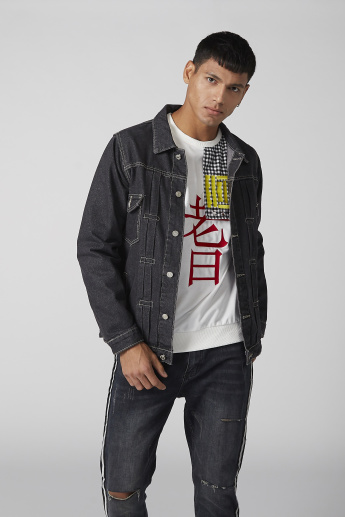 Printed Denim Jacket with Long Sleeves and Button Closure