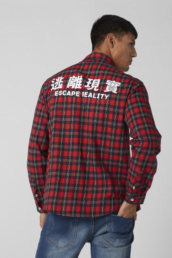 Chequered Shirt with Spread Collar