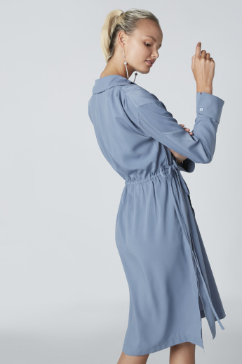 Midi Wrap Shirt Dress with Long Sleeves and Side Tie Ups